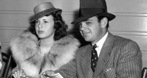 Deanna Durbin  in May 1939 with her first husband Vaughn Paul in the clubhouse of Hollywood Park in Los Angeles. Photograph: AP