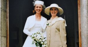 """For me she will always be the mum who walked me down the aisle and gave me away. I was only 24, and she was 41, my age now"": Corrina Moore on her wedding day with her mother,  Marie Fleming"