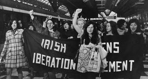 Women activists in Connolly Station, Dublin, in May 1971 on their way to Belfast to buy contraceptives