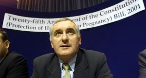 "Then taoiseach Bertie Ahern at a press conference in October 2001 to announce plans for the 2002 referendum on abortion. ""In making the case for that referendum and for rowing back on the suicide ground Bertie Ahern and indeed Micheál Martin repeatedly cited the so-called 'slippery slope' argument that legislating for termination on grounds of suicide would, as Ahern put it, 'commence an inevitable slide towards social abortion in Ireland'."" Photograph: Chris Bacon/PA"
