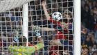 Bayern's Thomas Mueller heads past Barcelona goalkeeper Victor Valdes during the Champions League semi-final. Photograph: Matthias Schrader