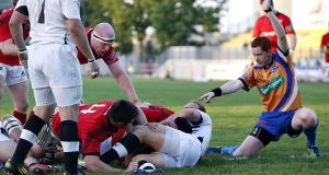 Munster's Paddy Butler goes over for a try at  Stadio XXV Aprile, Parma, last night. Photograph: Inpho