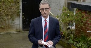 Deputy House speaker Nigel Evans gives a press statement at his home in Pendleton Lancashire today. Photograph: Owen Humphreys/PA Wire
