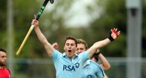 David Carson of Monkstown celebrates scoring his side's fourth goal against Banbridge yesterday. Photograph: Inpho
