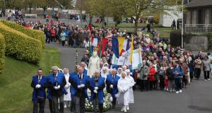 "Some of the large crowd at the Rosary procession in Knock, Co Mayo on Saturday where a National Vigil of Prayer for Mothers and their Unborn Babies took place. The theme of this special Vigil was  ' ""Choose Life: We Cherish Them All."" shows . Photograph: John McElroy"