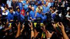 Malaysia's prime minister and Barisan Nasional (BN) chairman Najib Razak celebrates his victory with a prayer on election day at the PWTC in Kuala Lumpur, Malaysia. Photograph: Nicky Loh/Getty Images
