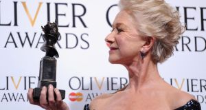 Dame Helen Mirren with her Best Actress award during The Laurence Olivier Awards at the Royal Opera House  in London, England. Photograph: Pruchnie/Getty Images