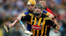 Kilkenny's Aidan Fogarty and Tipperary's Shane McGrath during yesterday's National League final at Nowlan Park. Photograph: Cathall Noonan/Inpho