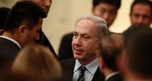 Israel said today it was business as usual despite two recent attacks on missile stores in Syria.  Prime minister Benjamin Netanyahu has travelled to China for an official visit. Photograph: Aly Song/Reuters.