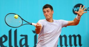 Australia's Bernard Tomic: lost 6-3, 6-2 to Radek Stepanek in the first round of the Madrid Masters clay-court tournament on Sunday. Photograph:  Getty Images