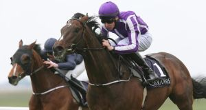Joseph O'Brien on Camelot pulls away from Seamie Heffernan on Triumphant to win The High Chaparral European Breeders Fund Mooresbridge Stake at the Curragh. Photograph: Inpho