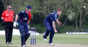 LeinsterLightning's Kevin O'Brien in action during yesterday's  RSA Inter-Provincial One-Day Trophy at The Hills, LCU, Skerries, Co Dublin. Photograph: Inpho