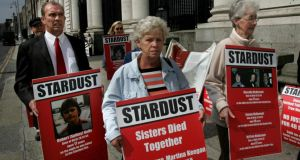 Relatives of Stardust fire victims protesting outside Government Buildings in 2007. Photograph: Matt Kavanagh
