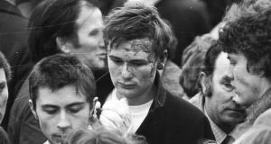 An injured survivor at the funeral service for the last of the Stardust victims in Donnycarney, Dublin, on February 27th, 1981. Photograph: Pat Langan