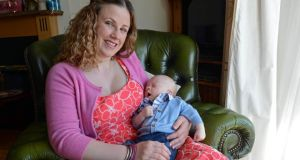 Maire Dundon, from Stepaside, Co Dublin, with her 10-week-old baby Tomás. Photograph: Eric Luke/The Irish Times