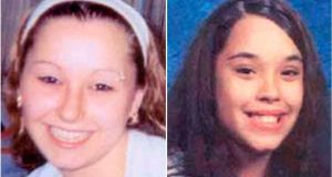 Amanda Marie Berry (left), missing since April 2003, when she was 16, and Georgina Lynn Dejesus, missing since April 2004, when she was 14, have been reported found in Cleveland, Ohio, not far from where they were abducted. A third girl, Michelle Knight, was found at the same house. Photograph: FBI handout
