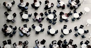 Staff eating lunch in the staff canteen in AIB Bankcentre Ballsbridge. Photograph: David Sleator/The Irish Times