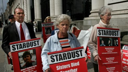 The families of some of the 48 young people who died in the 1981 Stardust fire are demanding are demanding a fresh inquiry into the cause or causes of the fire.  Pictured are relatives of Stardust fire victims including Mrs Christine Keegen who lost two daughters, and Mrs Bridget McDermott who lost one daughter and two sons in the fire, protesting outside Government Buildings in 2007. Photograph: Matt Kavanagh/The Irish Times