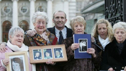While the report submitted to the government in December 2008 by Mr Coffey accepted a new inquiry may be necessary, the report published by the government in January 2009 said only that the public record should be corrected. Photographed are relatives of those killed in the Stardust Fire  Pat Kennedy,who lost her daughter Marie, Brid McDermott who lost  her sons and daughter William , George,  and Marcella ,Eugene Kelly who lost his brother Robert, Elisabeth Bissett who lost her daughter Carol, Antoinette Keegan and her mother Christine who lost Mary and Martina, outside Government buildings after recieving copies of the report of the independent examination of the Stardust Victims Committee Case reopened inquiry in 2009. Photograph: Alan Betson/The Irish Times