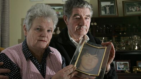 Michael and Peg French with a photograph of their son Michael who was killed in the Stardust fire. Photograph: Brenda Fitzsimons/The Irish Times