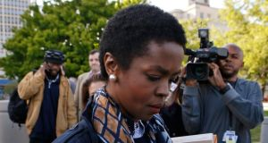 Lauryn Hill leaves court after a sentencing on federal tax evasion charges in Newark, New Jersey, last night. Photograph: Reuters