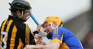 Kilkenny's JJ Delaney and Lar Corbett of Tipperary during the Division One final at Nowlan Park on Sunday. They were involved in an off the ball scuffle resulting in  their dismissals . Photograph: Cathal Noonan/Inpho