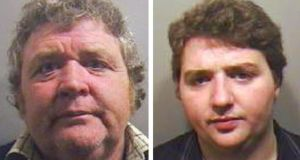 Tommy Connors Senior (53,left),  who was jailed for eight years and his son Patrick Connors (21), for five years at Luton Crown Court, Bedfordshire. The judge said over the years, hundreds of vulnerable workers had been recruited by Connors and would have been subject to threats of violence and intimidation if they wanted to leave. Photograph: PA