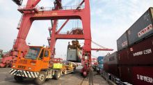 China's exports rose 14.7 per cent in April, while imports grew 16.8 per cent, leaving the country with a trade surplus of $18.16 billion for April. Photograph: China Daily/Reuters