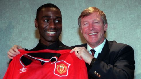 Manchester United's £6 million new signing from Newcastle United  Andy Cole, pictured at Old Trafford in January 1995 with Alex Ferguson. Photograph: Dave Kendall/PA Wire.