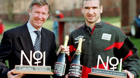 Alex Ferguson and Eric Cantona in 1996 celebrating after winning the Carling's Manager of the Month and Player of the Month respectively. Photograph: Peter Wilcox/PA Wire