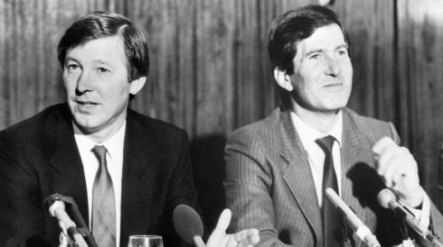 Manchester United's new manager Alex Ferguson (left) at a press conference in November 1986 at Old Trafford, with chairman Martin Edwards. Photograph: PA