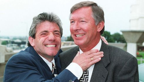 Newcastle boss Kevin Keegan (left) gets to grips with Manchester United manager Alex Ferguson in 1996 as they meet at Wembley for the start of the European Championships. Photograph: Adam Butler/PA Wire.