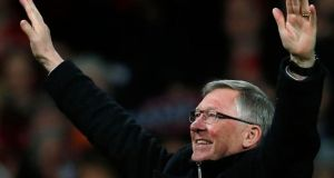 Manchester United's manager Alex Ferguson celebrates after his team clinched the English Premier League soccer titllast month. Ferguson will retire at the end of the season after more than 26 years in charge, bringing to a close the most glittering managerial career in British soccer.Photograph: Phil Noble/Reuters