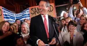 Former South Carolina governor Mark Sanford celebrates his victory with a large crowd in the South Carolina first district congressional race at Liberty Tap Room in Mount Pleasant, South Carolina, on Tuesday. Photograph: Randall Hill/Reuters