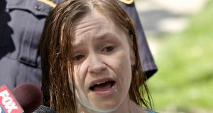 Beth Serrano, sister of Amanda Berry, addresses the media in Cleveland, Ohio.  Photograph: John Gress/Reuters.