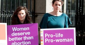 Anti-abortion campaigners in a recent protest outside the Dáil. Photograph: Collins Photos