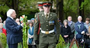 President Michael D Higgins prepares to lay a wreath at the annual 1916 commemoration.