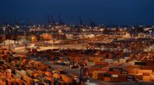 "General view of a container terminal   in the harbour of Hamburg. German firms fear a tax on financial transactions is a ""direct strike"" againist the export-oriented economy"
