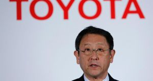 Toyota President Akio Toyoda announced the car firm more than doubled its fourth quarter net profit. Photograph: Reuters