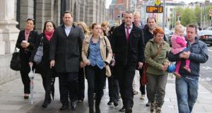 Some of the residents of Priory Hall pictured arriving at The Four Courts todayfor a Supreme Court hearing which was adjourned. Photograph: Collins Courts