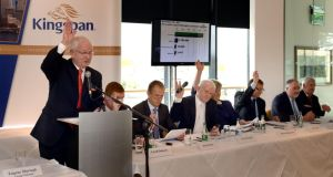 Eugene Murtagh, Kingspan chief executive, at the group's agm at a Dublin hotel yesterday. Photograph: Brenda Fitzsimons/Irish Times