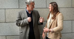 Tinsmith Tom McDonnell, winner of the overall Traveller Pride Award, is  photographed with Olympic gold medelist Katie Taylor after a ceremony in the Rotunda Hospital. Photograph: Brenda Fitzsimons/The Irish Times.