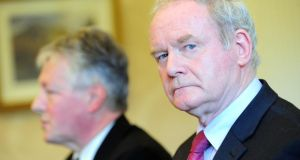 First Minister Peter Robinson and Deputy First Minister Martin McGuinness. photograph: Arthur Allison