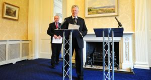Peter Robinson and Martin McGuinness have  announced how they intend to progress building a shared future in Northern Ireland. Photograph: Arthur Allison