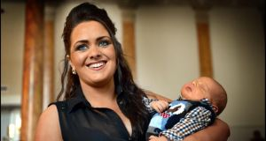 Star of The Voice Kelly McDonagh Mongan from Cork with her baby boy Bernie at the Traveller Pride Awards.  Photograph: Brenda Fitzsimons