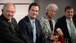[From left] German finance minister Wolfgang Schäuble, British chancellor George Osborne, IMF managing director  Christine Lagarde and Canada's finance minister Jim Flaherty at the Global Investment Conference 2013 in London. Photograph: Stefan Rousseau/Reuters