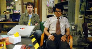 """We really should get that fourth wall fixed, Mossy"": Chris O'Dowd and Richard Ayoade in The IT Crowd"