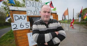 Life after Debt campaigner Séamus Sherlock, Co Limerick, has manned his log cabin outside his property for 265 days. Photograph: Valerie O'Sullivan