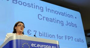 European commissioner Máire  Geoghegan-Quinn at an announcement in 2011 of EU funding of €7 billion for research and innovation.