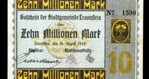 A 10-million mark note from 1923 at the height of the hyper-inflation days of the Weimar Republic. Photograph: iStockphoto